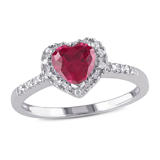 Womens 1/10 CT. T.W. Lab Created Red Ruby Sterling Silver Heart Promise Ring