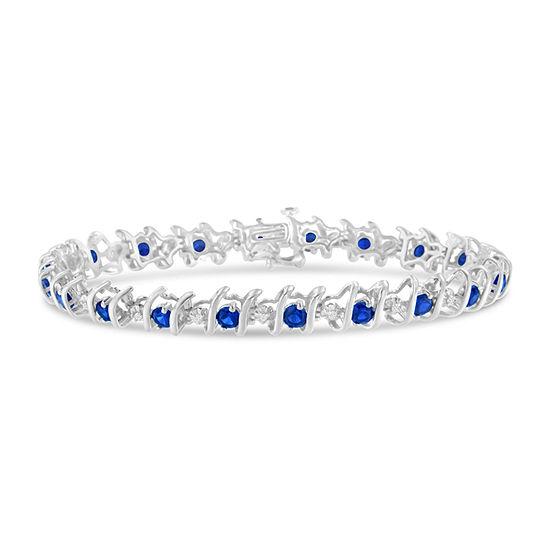 1/6 CT. T.W. Blue Sapphire Sterling Silver Tennis Bracelet
