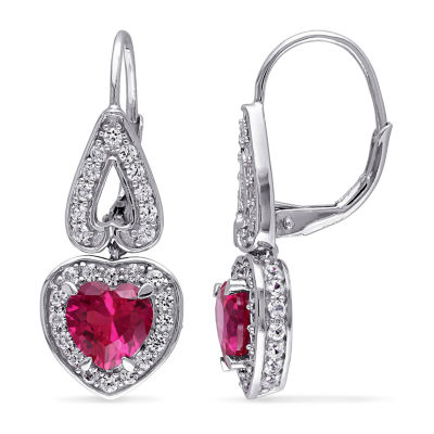 Lab Created Red Ruby Heart Drop Earrings