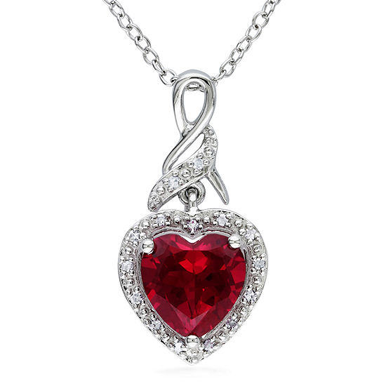 Womens Diamond Accent Lab Created Red Ruby Sterling Silver Heart Pendant Necklace