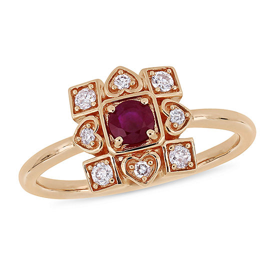 Womens 1/5 CT. T.W. Lead Glass-Filled Red Ruby 10K Rose Gold Promise Ring