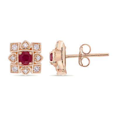 1/5 CT. T.W. Lead Glass-Filled Red Ruby 10K Rose Gold Ear Pins