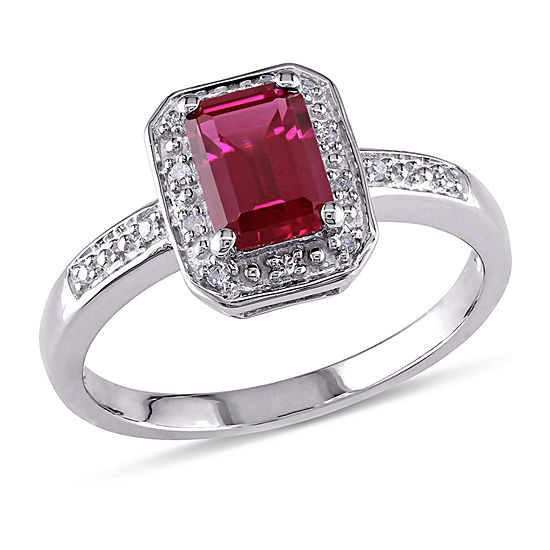 Womens Diamond Accent Lab Created Red Ruby Sterling Silver Cocktail Ring