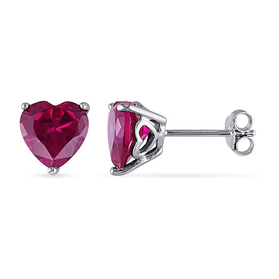 Lab Created Red Ruby Sterling Silver Heart Ear Pins