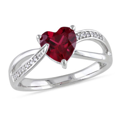 Womens Diamond Accent Lab Created Red Ruby Sterling Silver Heart Cocktail Ring
