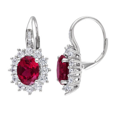 Diamond Accent Lab Created Red Ruby Drop Earrings