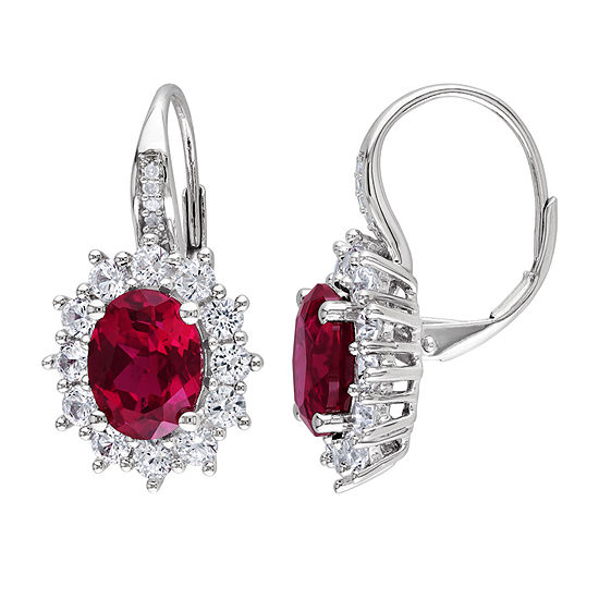 Diamond Accent Lab Created Red Ruby Sterling Silver Drop Earrings