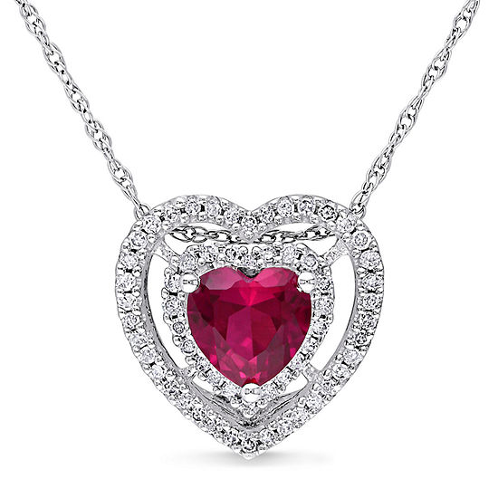 Womens 1/5 CT. T.W. Lead Glass-Filled Red Ruby 10K White Gold Heart Pendant Necklace