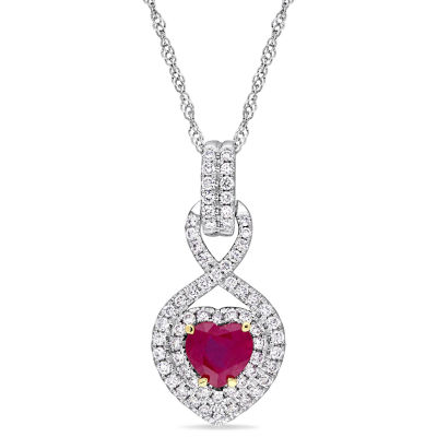 Womens 1/3 CT. T.W. Lead Glass-Filled Red Ruby 14K White Gold Heart Pendant Necklace