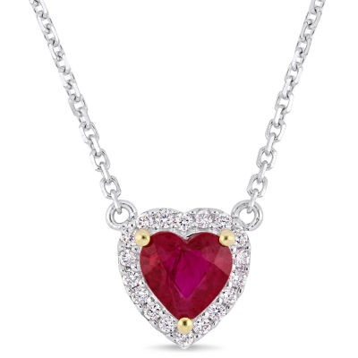 Womens Diamond Accent Lead Glass-Filled Red Ruby 14K White Gold Heart Pendant Necklace