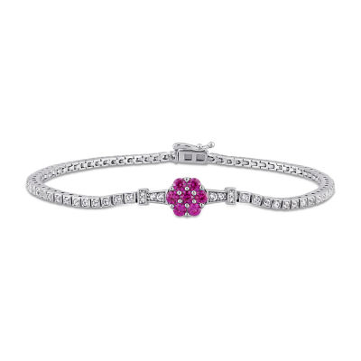 Diamond Accent Lab Created Red Ruby 7 Inch Tennis Bracelet