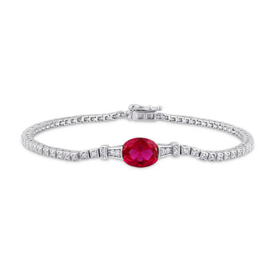 Lab Created Red Ruby Sterling Silver 7 Inch Tennis Bracelet