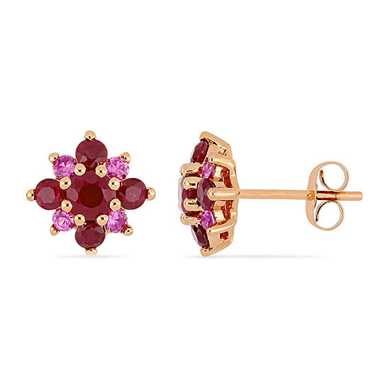 Lead Glass-Filled Red Ruby 14K Rose Gold 10.9mm Stud Earrings