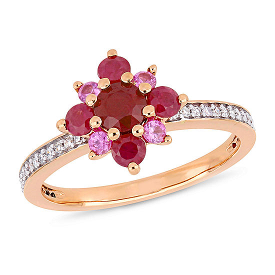 Womens 1/6 CT. T.W. Lead Glass-Filled Red Ruby 14K Rose Gold Cocktail Ring