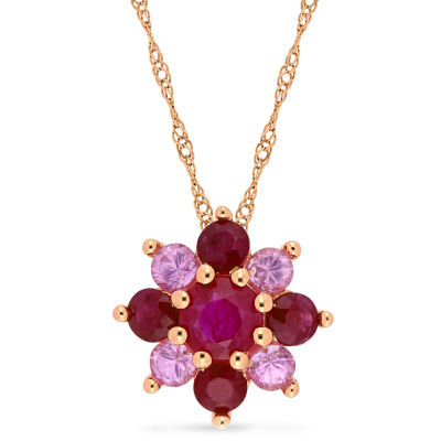Womens Lead Glass-Filled Red Ruby 14K Rose Gold Pendant Necklace