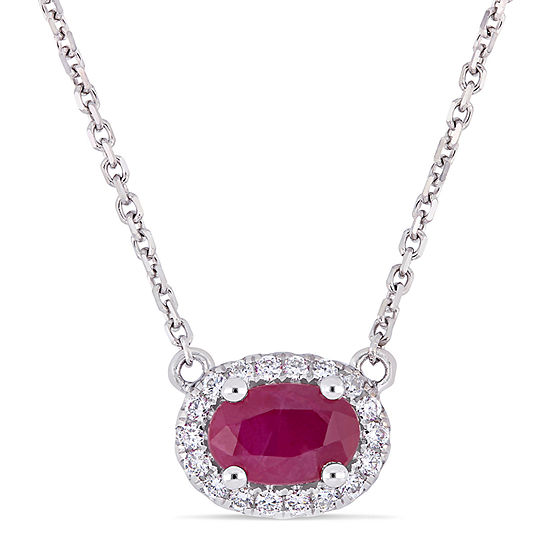 Womens 1/10 CT. T.W. Lead Glass-Filled Red Ruby 14K White Gold Pendant Necklace