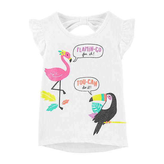 Carter's Girls Round Neck Short Sleeve Graphic T-Shirt - Baby