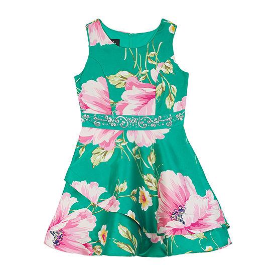by&by girl Girls Sleeveless Floral A-Line Dress - Preschool / Big Kid