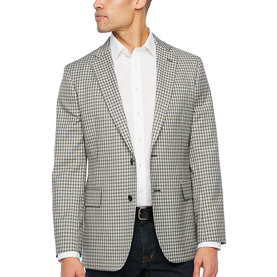 Stafford Year Round Stretch Black and White Check Classic Fit Sport Coat