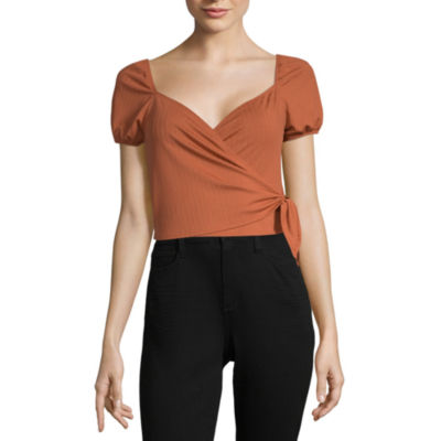 Society And Stitch Womens V Neck Short Sleeve Knit Blouse-Juniors