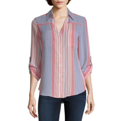 by&by Womens V Neck 3/4 Sleeve Dobby Blouse-Juniors