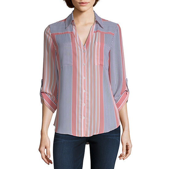 by&by-Juniors Womens V Neck 3/4 Sleeve Dobby Blouse