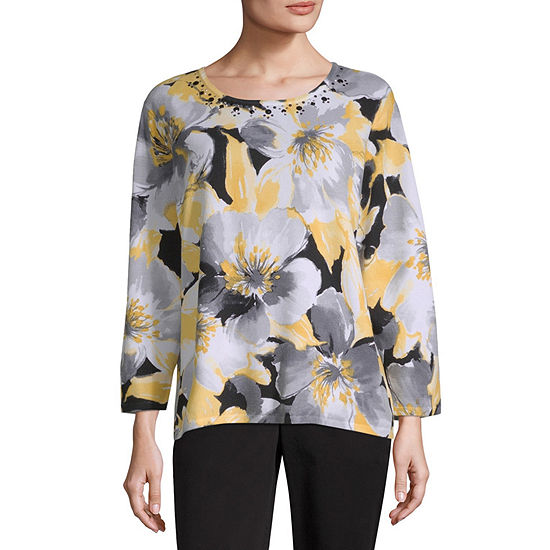 Alfred Dunner Native New Yorker Womens Round Neck 3/4 Sleeve Floral Pullover Sweater-Petite