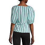 Worthington Womens V Neck Elbow Sleeve Wrap Shirt