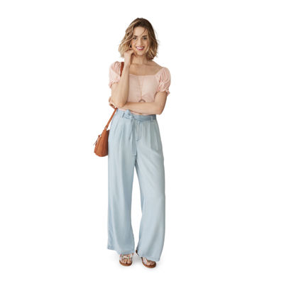 a.n.a Square Neck Short Sleeve Top and Wide Leg Pants