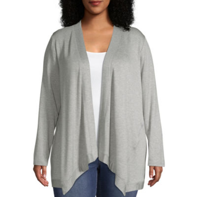 Wallpapher Womens Long Sleeve French Terry Open Front Cardigan - Plus