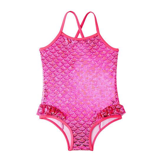 Pink Platinum Mermaid Tonal Foil One Piece Swimsuit -Toddler Girls