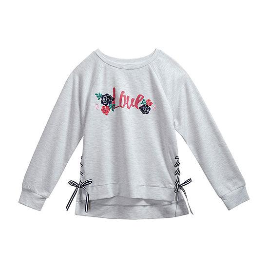 Obsess Girls Scoop Neck Long Sleeve Sweatshirt - Big Kid