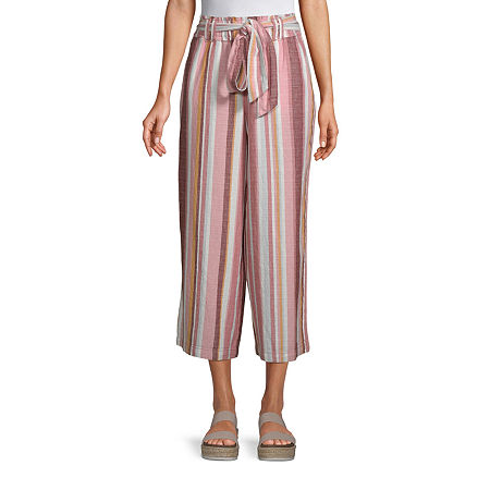 a.n.a Mid Rise Belted Cropped Pants, Large , Pink