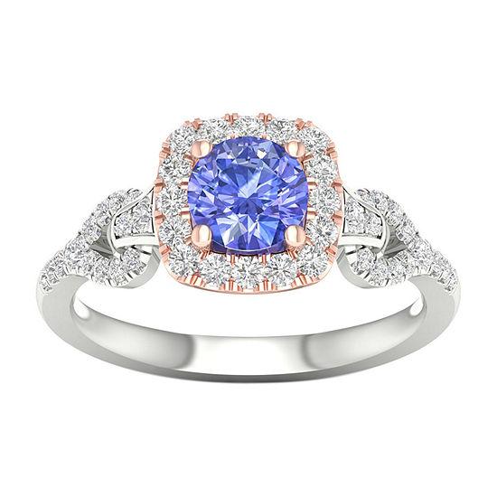 Modern Bride Gemstone Womens 1/3 CT. T.W. Genuine Blue Tanzanite 10K Rose Gold Round Engagement Ring