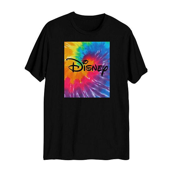 Rainbow Tie-Dye Disney Mens Crew Neck Short Sleeve Graphic T-Shirt