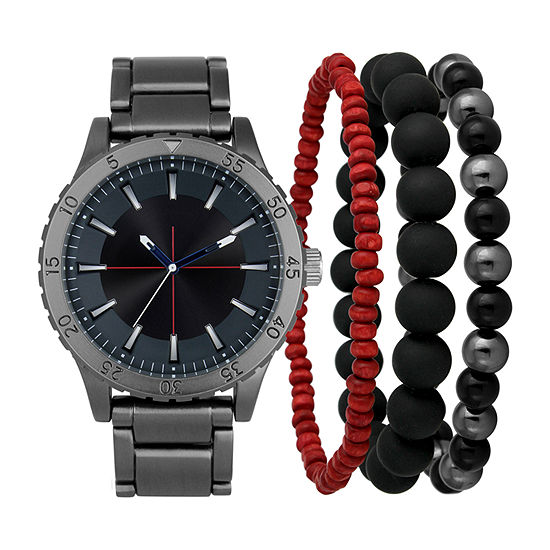 Mixit Mens Gray 4-pc. Watch Boxed Set-Pm1393gy