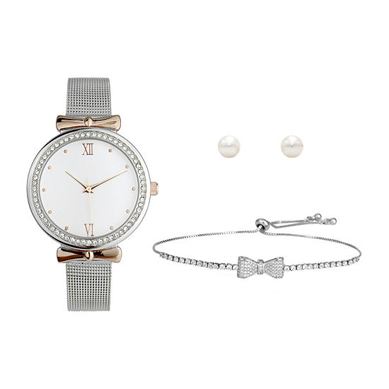 Mixit Womens Silver Tone 3-pc. Watch Boxed Set-Pt8004slrg