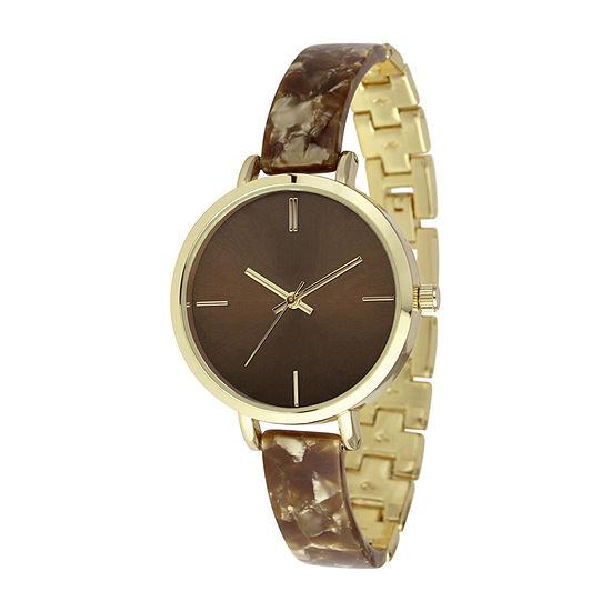 Geneva Womens Brown Bangle Watch-Pt6612gdcg