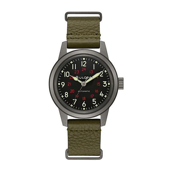 Bulova Classic Mens Green Leather Strap Watch-98a255