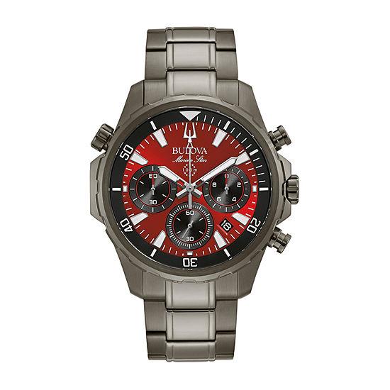Bulova Marine Star Mens Gray Stainless Steel Bracelet Watch-98b350