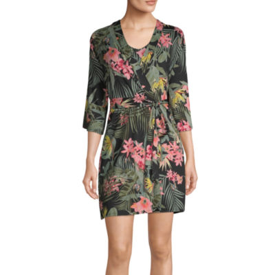 Ambrielle Womens Pajama + Robe Sets 2-pc. 3/4 Sleeve