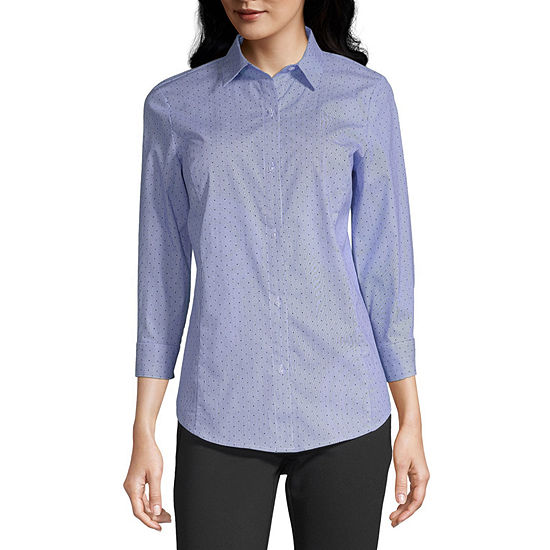 Liz Claiborne 3/4 Sleeve Buton Front Shirt  - Tall