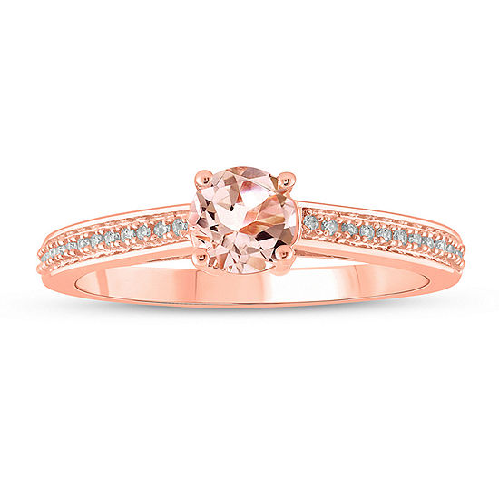 Not Applicable Womens Diamond Accent Genuine Pink Morganite 10K Gold Cocktail Ring