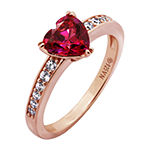 Womens 1 1/10 CT. T.W.  Multi Color Cubic Zirconia 14K Rose Gold Over Silver Heart Engagement Ring