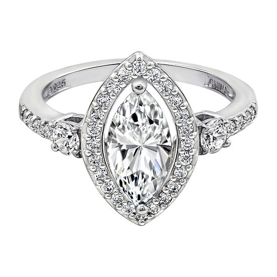 Womens 1 7/8 CT. T.W. Cubic Zirconia Sterling Silver Round Engagement Ring