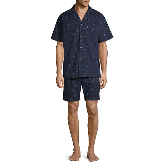 Stafford Mens Short Sleeve 2-pc. Shorts Pajama Set