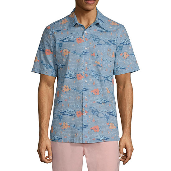 St. John's Bay Mens Short Sleeve Floral Button-Front Shirt
