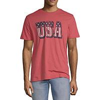 Deals on City Streets Mens Crew Neck Short Sleeve Americana Graphic T-Shirt
