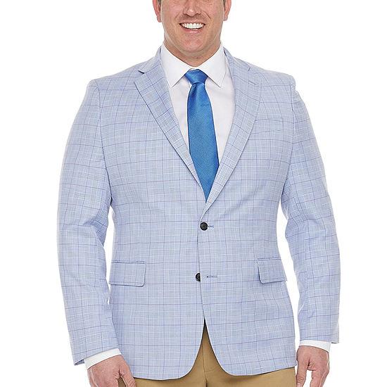 Stafford Mens Plaid Classic Fit Sport Coat - Big and Tall