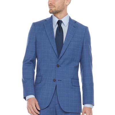 Stafford Mens Windowpane Slim Fit Suit Jacket-Slim